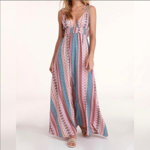 Lulu's Boho multi print maxi dress